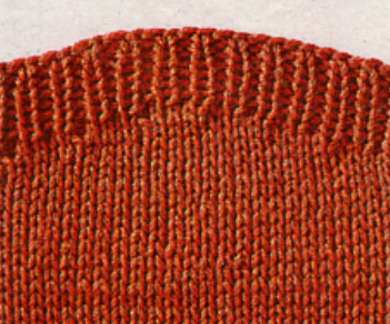 Укороченные ряды спицами с обеих сторон полотна