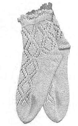 Вязание ажурных носков спицами