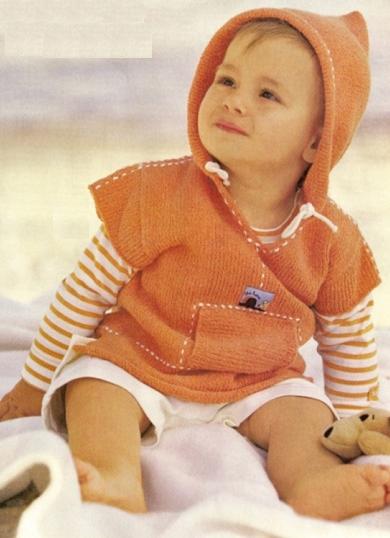 детский пуловер с капюшоном спицами для мальчика