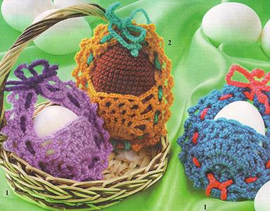 пасхальные корзиночки для яиц вязаные