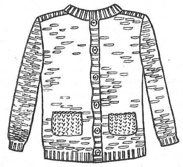 Вязаная на спицах кофта с накладными карманами для мальчика