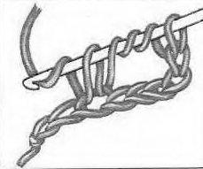 Столбик с тремя накидами крючком. Шаг 2