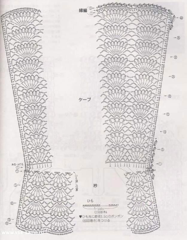 детское вязаное пончо крючком схема