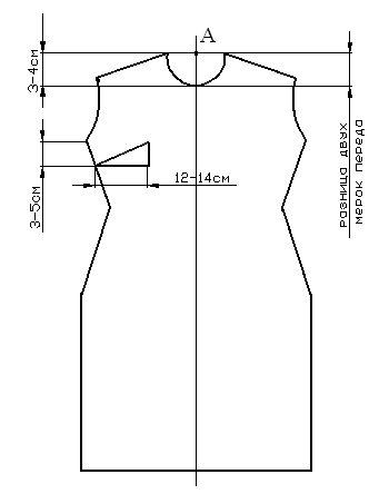 Построение выкройки изделия с вшивным рукавом спинка перед